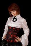 Muchacha hermosa en la camisa y el corsé de seda blancos Imagen de archivo