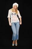 Muchacha hermosa en las blusas blancas del fishnet. Imágenes de archivo libres de regalías