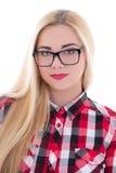 Muchacha hermosa en las lentes aisladas en blanco Fotografía de archivo libre de regalías