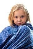 Muchacha hermosa en manta azul Imágenes de archivo libres de regalías