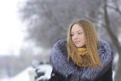 Muchacha hermosa en parque del invierno Imágenes de archivo libres de regalías
