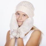 muchacha hermosa en ropa del invierno Fotografía de archivo