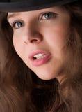 Muchacha hermosa en sombrero Imagenes de archivo
