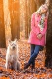 Muchacha hermosa en soporte de bosque del otoño cerca del árbol y mirada de la cámara en la luz del sol con el perro grande imagen de archivo