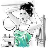 Muchacha hermosa en top sensual después de bañar la fijación sus hairdress ilustración del vector