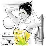 Muchacha hermosa en top sensual después de bañar la fijación sus hairdress stock de ilustración