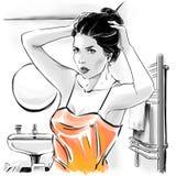 Muchacha hermosa en top sensual despu?s de ba?ar la fijaci?n sus hairdress, ejemplo de la moda ilustración del vector