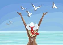 Muchacha hermosa en traje de baño que disfruta de tiempo de verano y que mira el mar ilustración del vector