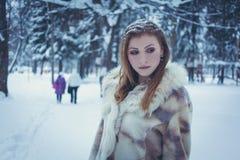 Muchacha hermosa en un abrigo de pieles brillante con el pelo que fluye y nieve en su pelo contra la perspectiva del bosque del i imágenes de archivo libres de regalías