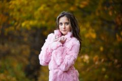 Muchacha hermosa en un abrigo de pieles rosado Fotos de archivo