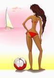 Muchacha hermosa en un bikiní rojo en el lookin de la playa Foto de archivo