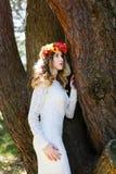 Muchacha hermosa en un bosque Fotos de archivo