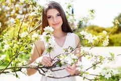 Muchacha hermosa en un jardín de la flor de cerezo Foto de archivo