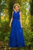 Muchacha hermosa en un vestido azul que presenta en bosque Fotos de archivo