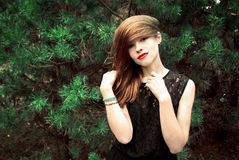 Muchacha hermosa en un vestido negro en un fondo del pino Fotografía de archivo libre de regalías