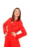 Muchacha hermosa en una capa roja Imagenes de archivo