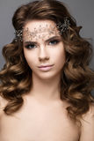 Muchacha hermosa en una imagen de la novia con una diadema en su cabeza Cara de la belleza Fotografía de archivo