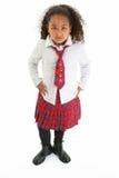 Muchacha hermosa en uniforme de la tela escocesa Fotografía de archivo