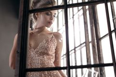 Muchacha hermosa en vestido de noche fotografía de archivo