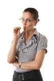 Muchacha hermosa joven con el lollipop Imagenes de archivo