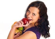 Muchacha hermosa joven con la fruta Fotos de archivo