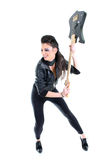 Muchacha hermosa joven con la guitarra Imagen de archivo libre de regalías