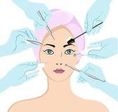 Muchacha hermosa joven con la máscara en cara stock de ilustración