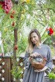 Muchacha hermosa joven con una cesta con los huevos de Pascua en el árbol de Pascua del fondo Imagenes de archivo