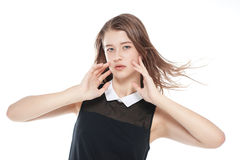 Muchacha hermosa joven del adolescente con el pelo que agita aislado Imagen de archivo