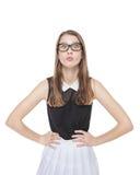 Muchacha hermosa joven del adolescente en vidrios Imagen de archivo libre de regalías