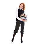 Muchacha hermosa joven del estudiante con los libros a disposición Fotos de archivo