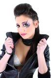 Muchacha hermosa joven en chaqueta negra Fotografía de archivo libre de regalías