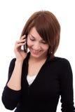 Muchacha hermosa joven en el teléfono Fotografía de archivo libre de regalías