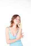 Muchacha hermosa joven en la camisa azul foto de archivo