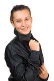 Muchacha hermosa joven en la chaqueta Fotografía de archivo