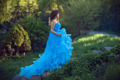 Muchacha hermosa joven en un vestido azul enorme Imagen de archivo