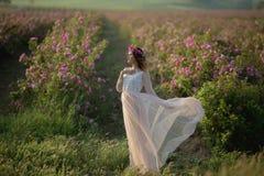 Muchacha hermosa joven en un vestido largo y una guirnalda de flores en el jardín del arbusto de lila foto de archivo libre de regalías
