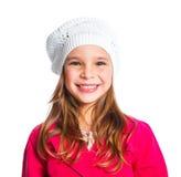 Muchacha hermosa joven en una boina y una capa roja Imagenes de archivo