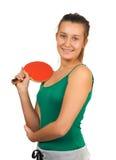 Muchacha hermosa joven que juega a tenis de vector Fotografía de archivo libre de regalías