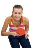 Muchacha hermosa joven que juega a tenis de vector Foto de archivo