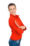 Muchacha hermosa joven que juega a tenis de vector Imagen de archivo libre de regalías