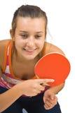 Muchacha hermosa joven que juega a tenis de vector Imágenes de archivo libres de regalías