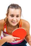 Muchacha hermosa joven que juega a tenis de vector Imagenes de archivo