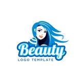 Muchacha hermosa Plantilla del logotipo del salón de belleza Foto de archivo
