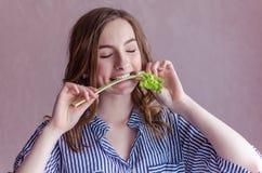 Muchacha hermosa que come el apio Foto de archivo libre de regalías