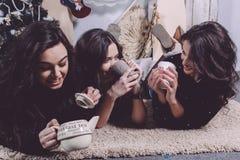 Muchacha hermosa que come las galletas de la Navidad Fotos de archivo libres de regalías