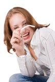 Muchacha hermosa que presenta con el cigarrillo. #2 Imagen de archivo