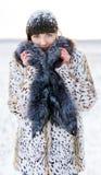 Muchacha hermosa que presenta en invierno Imagenes de archivo