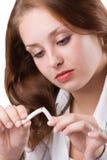 Muchacha hermosa que rompe el cigarrillo. #1 Fotos de archivo libres de regalías