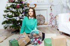 Muchacha hermosa que se sienta cerca del árbol de navidad en un cuarto blanco Foto de archivo libre de regalías